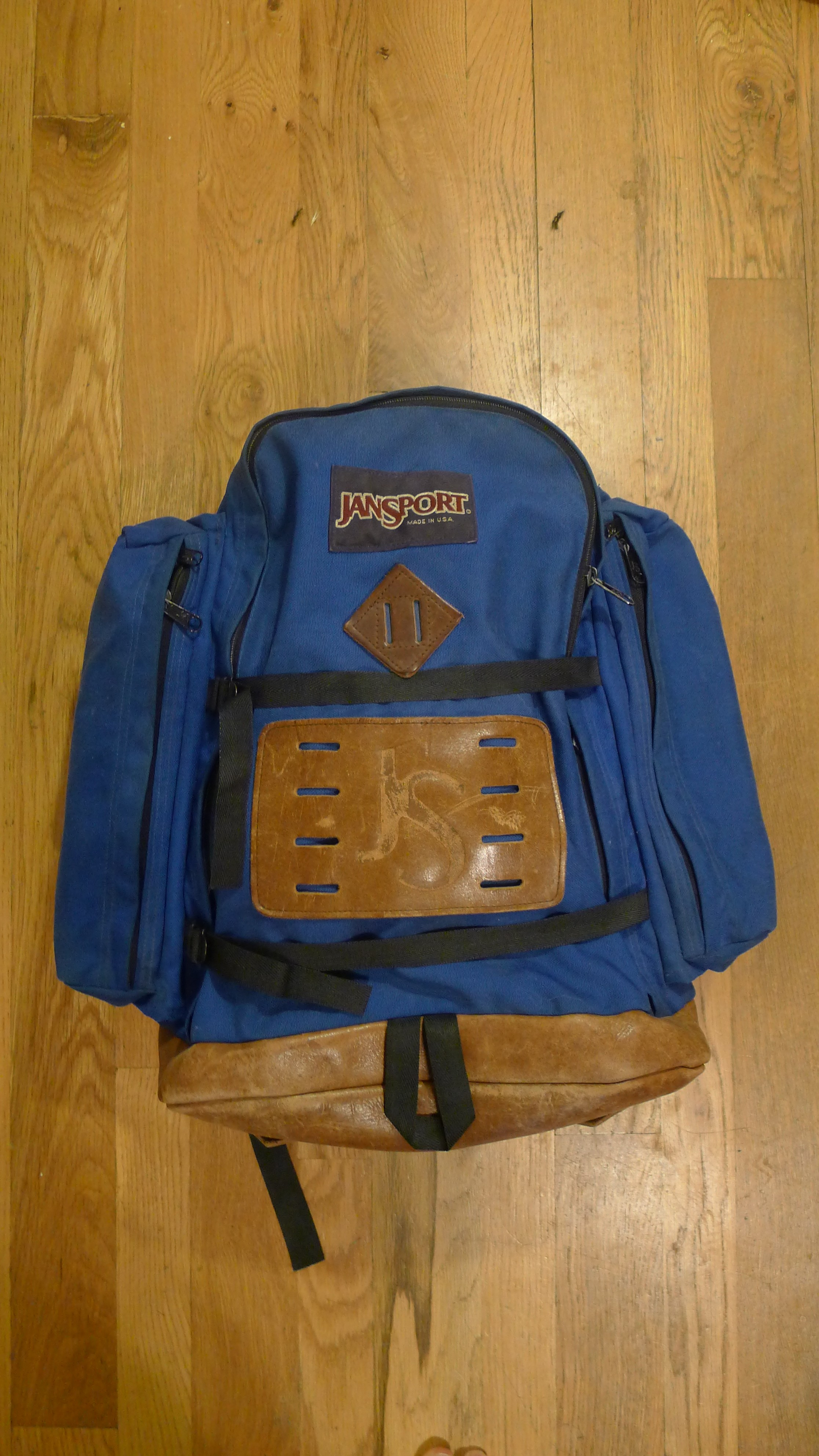 1980s Jansport Leather Bottom Day Pack Backpack Basecamp