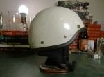 1960s Bell Toptex Shorty Motorcycle Helmet - White with Silver Metal Flake