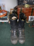 Vintage Unknown Engineer Boots 1960s - 8.5 C - Cord Soles, Brass Buckels USA Made