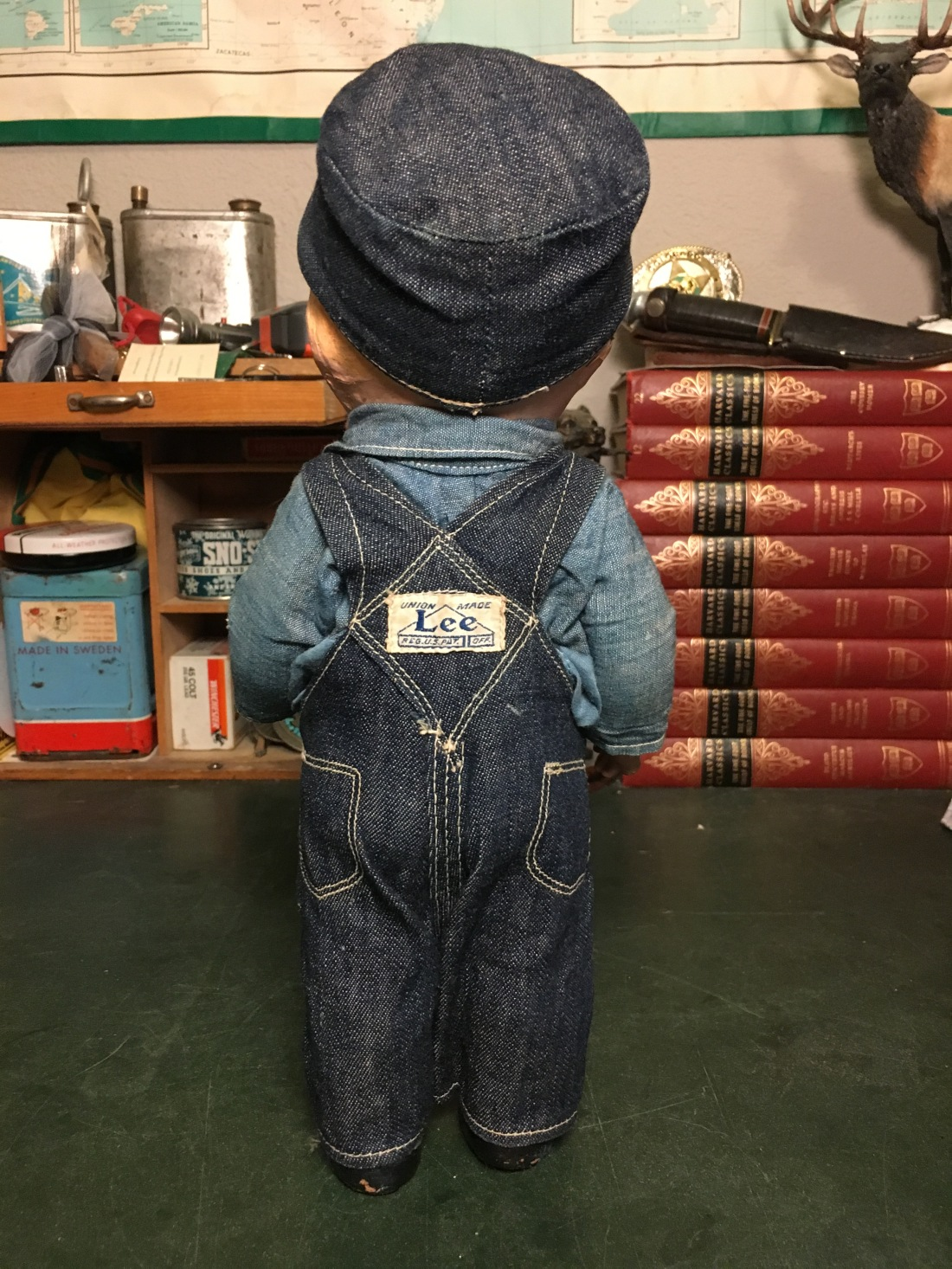 """Buddy Lee 13"""" Composition Doll in Lee Dungaree Overalls and Cap"""