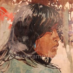 """Ross Stefan Oil on Canvas - """"Antelope Girl at the Summer Hogan"""" 1971"""