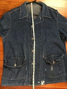 940s WWII VINTAGE US ARMY MILITARY DENIM CHORE COAT JACKET