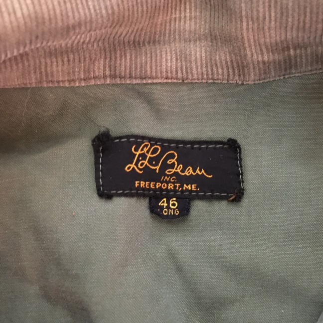 LL Bean Gold & Black Cursive Label Upland Hunting Field Jacket
